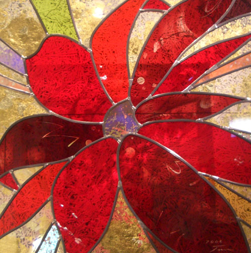 ステンドグラス インテリーニ 赤と金