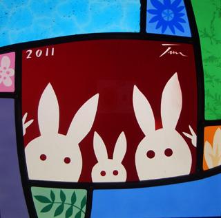 ステンドグラス ウサギ 誕生 出産
