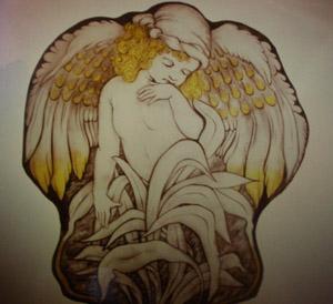 ステンドグラスの天使