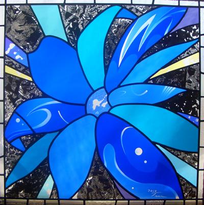 ステンドグラス 青い花