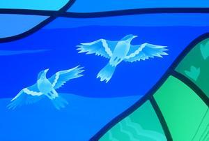 ステンドグラス エッチング 鳥