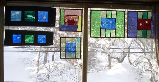 雪景色 ステンドグラス
